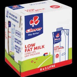 Clover Long Life Milk, 2% Low Fat, 6 x 1 Litre